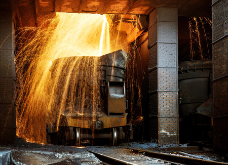 crucible: Liquid iron from ladle in the steelworks