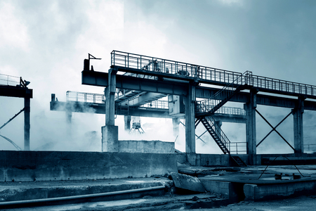 smudgy: Smelting factory overhead crane, in Shanghai, China.