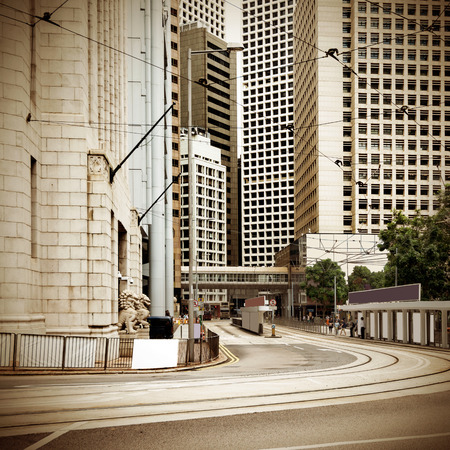central bank: Hong Kongs Central financial district streets Stock Photo