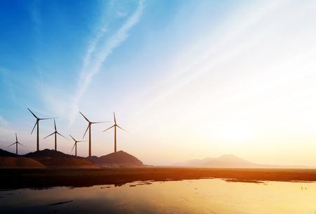 paesaggio industriale: Stretch quanto occhio l'erba e la distanza dell'orizzonte, turbine eoliche.