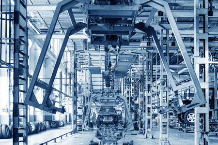 car manufacturing: Factory floor, pickup truck production lines. Editorial