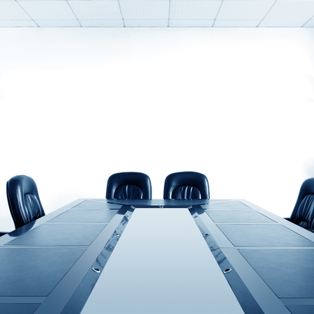 board room: Conference room tables and chairs Stock Photo