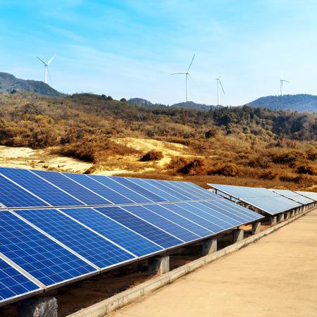 solar array: Solar panels against blue sky