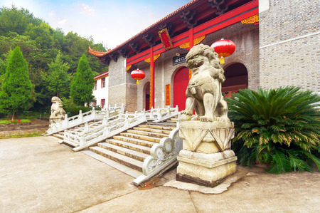 the architecture is ancient: Chinese classical architecture, ancient Buddhist temple.