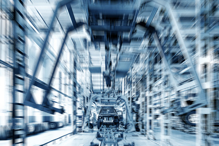 factory line: Factory floor, pickup truck production lines. Stock Photo