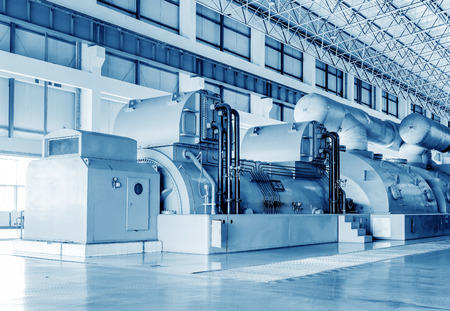 Thermal power plants, large-scale thermal power machine, empty shop. Editorial