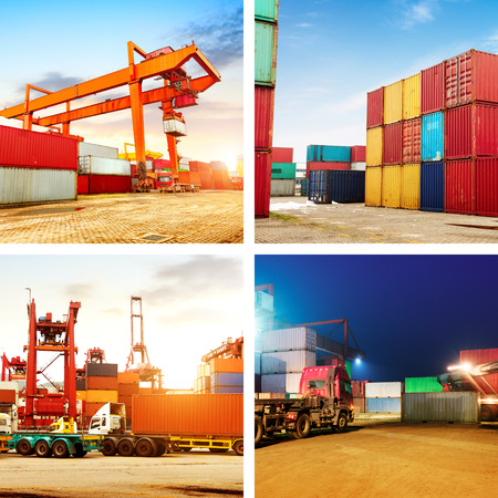 forklifts: Photos of container terminals, cranes and forklifts work. Stock Photo