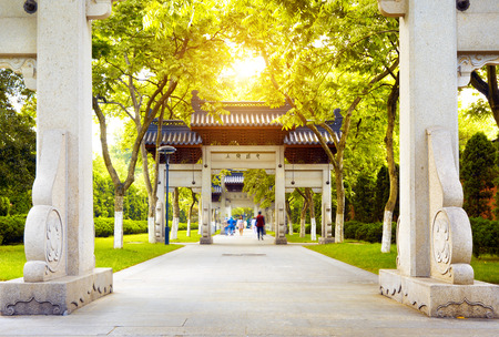 lakefront: traditional memorial arch in west lakefront,hangzhou, China