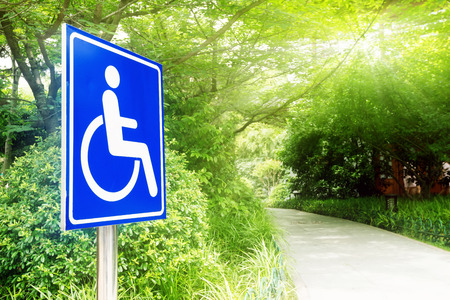 wheelchair access: Road park, handicapped access and icon. Stock Photo