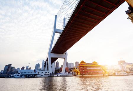 huangpu: Huangpu River in Shanghai, China, Nanpu Bridge under the sky background.