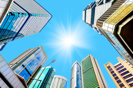 clear sky: Modern skyscrapers in Central, Hong Kong