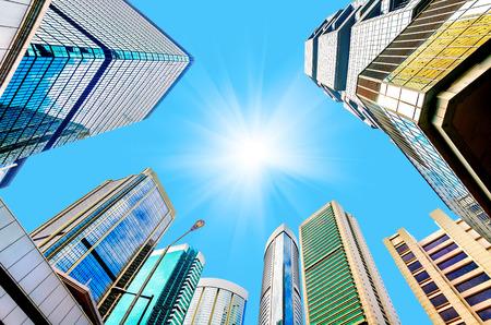 cielo despejado: Modernos rascacielos en Central, Hong Kong