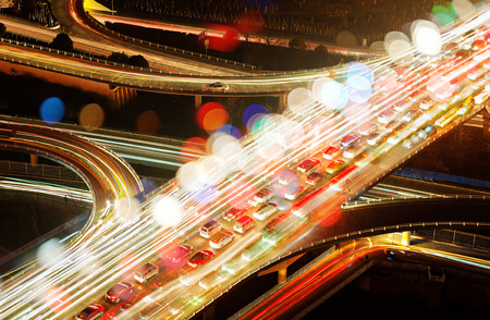 viaduct: Aerial view of the viaduct Night, countless automobile congestion. Stock Photo