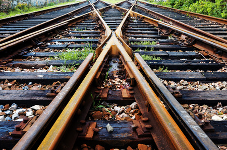 Close-up close-up shots of the tracks Archivio Fotografico