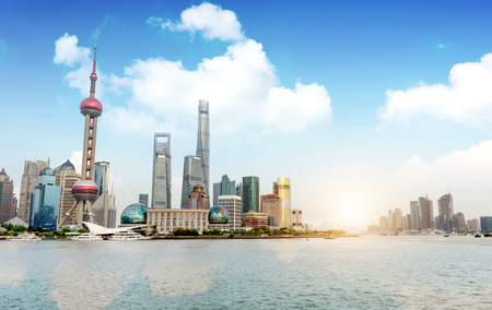 Moderne Skyline der Stadt, Shanghai, China Standard-Bild