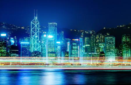 highriser: Night view of Hong Kong Victoria Harbor