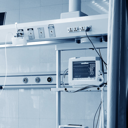 intensive care unit: Intensive care unit with ECG monitor