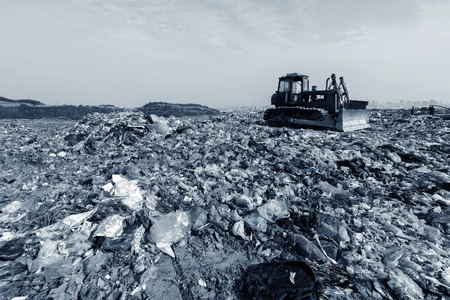 wasteful: Transportation over the daily garbage piled garbage landfill. Stock Photo