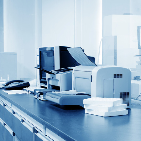 Modern Office, PC, printers and copiers and other equipment. Фото со стока