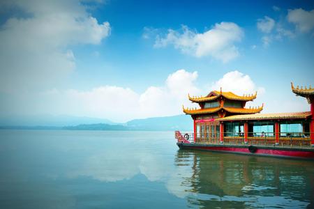 west: Traditional ship at the Xihu (West lake), Hangzhou, China Editorial