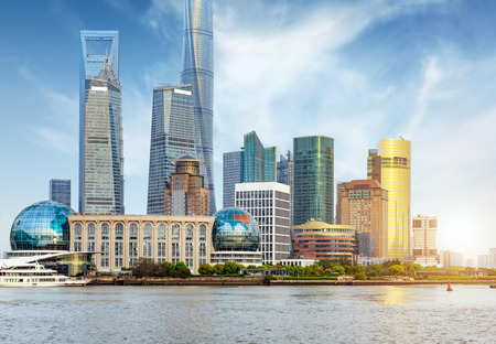 pudong district: modern city skyline ,shanghai pudong, China.