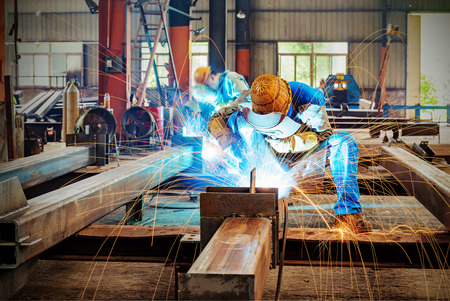 steel factory: Sparks from the cutting of steel produced