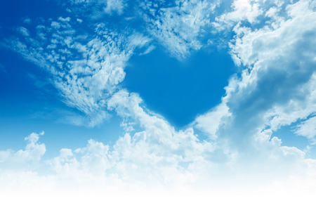 love in rain: Sky, clouds, forming a heart shape. Stock Photo