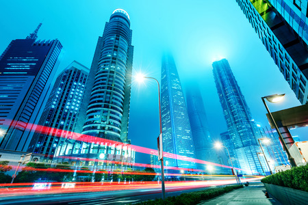 city light: Shanghai, China, city skyscrapers at night. Stock Photo