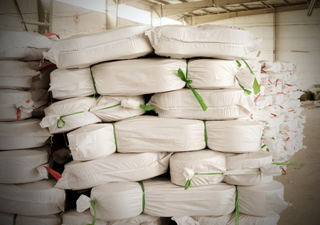 polyester:  warehouse in a textile factory. Stock Photo