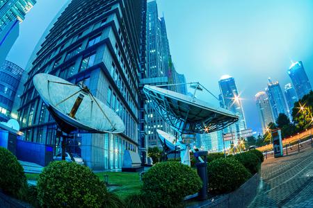 antenna: skyscrapers and satellite antenna
