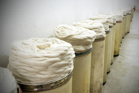 production line factory: cotton group closeup in spinning production line factory