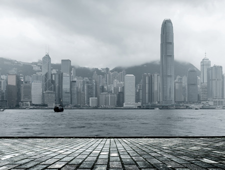 fog white:  black and white Hong Kong skyline in a foggy day.