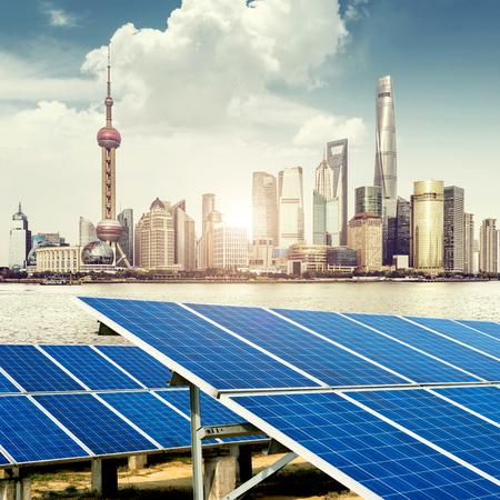 electricity background: Urban background solar panels, Shanghai, China.