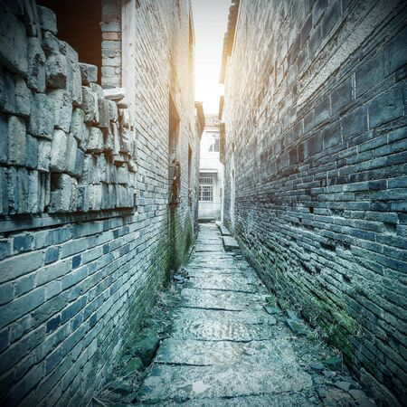 dark street: Chinese ancient buildings of the old town: alley