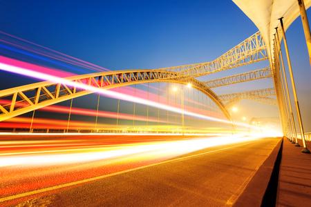 modern bridge: China Nanchang modern bridge Night Stock Photo