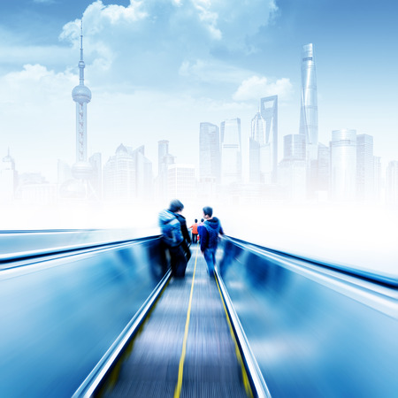 exaggerated: Escalator leading to the Shanghai skyscrapers, urban fantasy landscape, exaggerated expression.