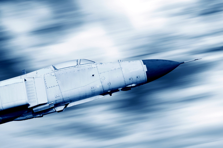 blue tone: High-speed flight fighter, blue tone image.