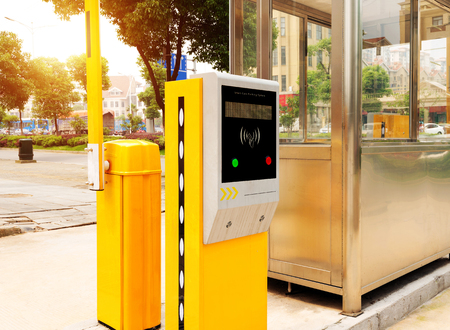 toll: Tollbooth in underground car park Stock Photo