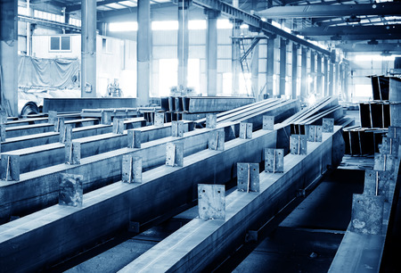 heavy joist: Steel factory floor, stacked with a lot of steel Editorial