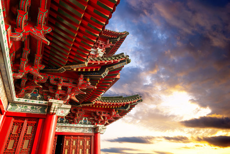 Chinese ancient architecture, Nanchang Poetic local evening landscape. 스톡 콘텐츠