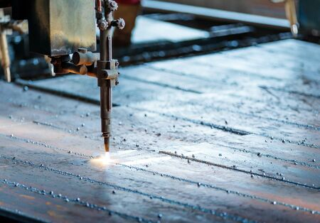 manufacture: Industrial Laser cutting processing manufacture technology of flat sheet metal steel material with sparks