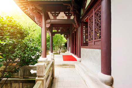 chinese courtyard: Typical Chinese ancient architecture courtyard, evening landscape.
