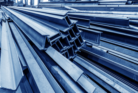 metallurgist: Steel factory floor, stacked with a lot of steel Editorial