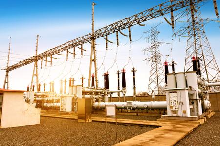 High voltage power transformer substation Stockfoto