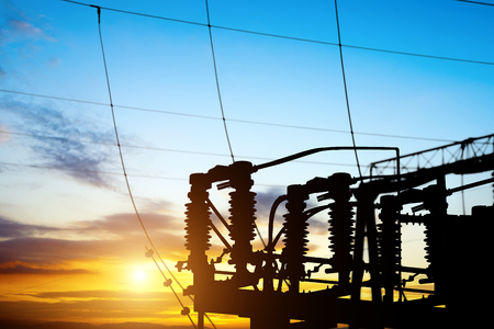 electricity grid: Substation equipment and lines and pylons Stock Photo