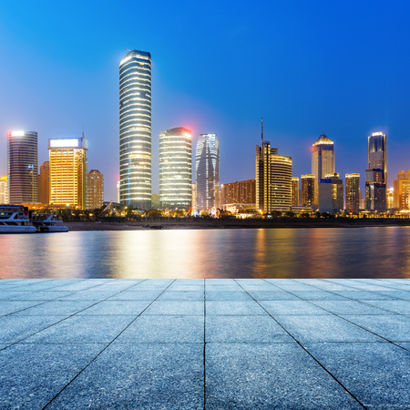 riverside landscape: China Nanchang urban landscape, riverside landmarks Stock Photo