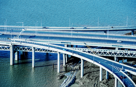 viaducts: Aerial view of modern highways and viaducts, China Nanchang.