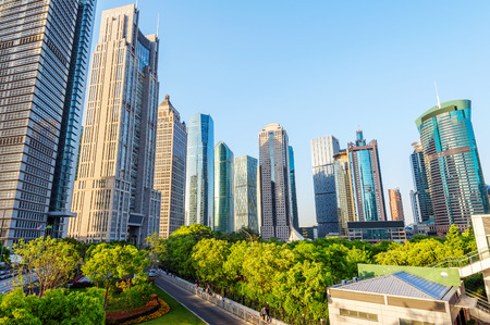 urban scenics: Park and modern building in Shanghai, China Stock Photo