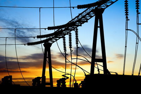 electricity substation: Substation equipment and lines and pylons Stock Photo