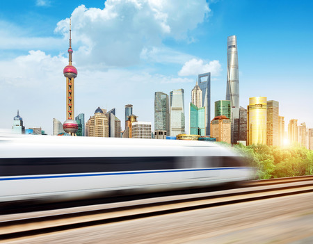 highspeed: High-speed trains in the Shanghai Lujiazui City background